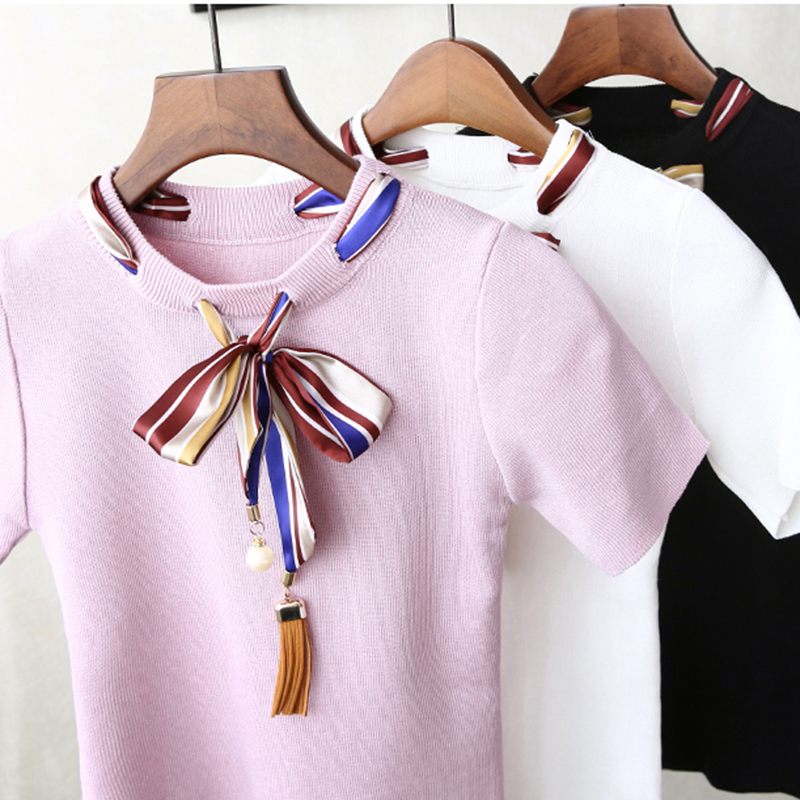 Pantalon Bow Pearls T shirt Women Slim Knit Short Sleeve Beading Ribbon Casual Tops Summer Lady Elastic Cotton Top Tee