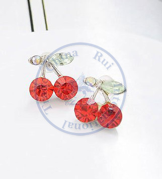 Stud Earrings ear rings Fashion for women Girls lady red fruit leaf round cystal desgin CN post