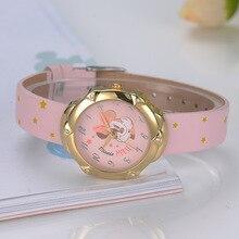 Genuine Disney child wrist watch kids girl clocks leather quartz cartoon Mickey Mouse gold silver Diamond waterproof MK-11040