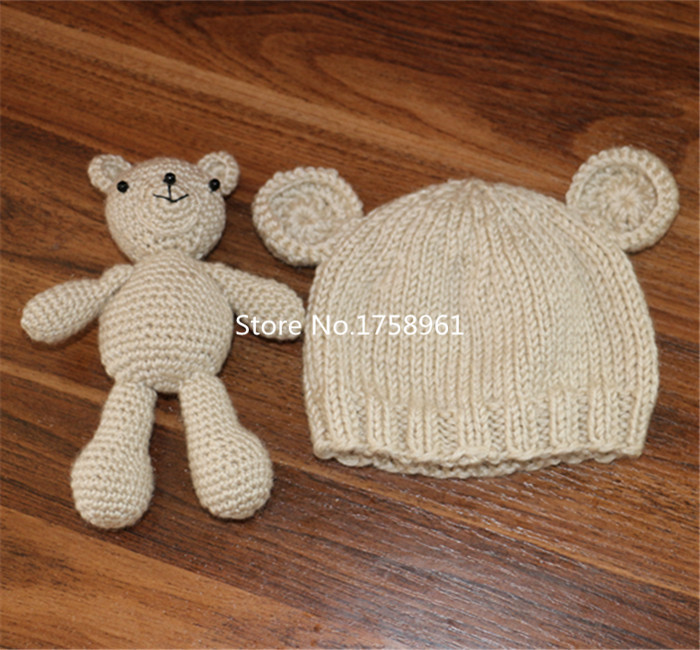 Knitting For Newborn Photography : Hand crochet knitted baby hat teddy bear bonnet