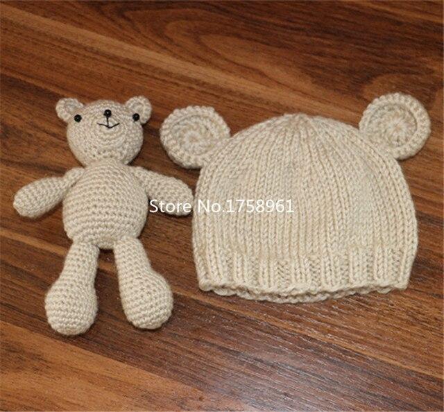 € 13.84 |Mano de Ganchillo Hecho Punto Bebé Sombrero de Oso de Peluche Capó  Fotografía/Foto Prop, tejer sombreros recién nacido 0 3 meses ...