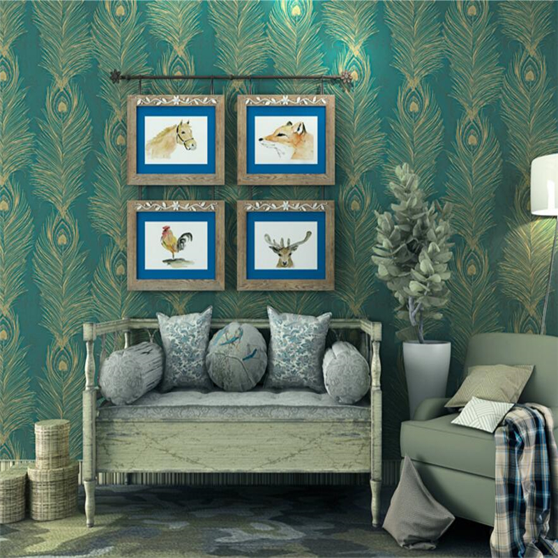Beibehang Southeast Asian Style Wallpaper Green Peacock Paper Wallpaper Bedroom Living Room Background wallpaper for walls 3 d  free shipping southeast asian style elephant mural background wall thickened wear high quality living room bedroom wallpaper