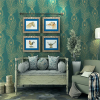 Beibehang Southeast Asian Style Wallpaper Green Peacock Paper 3D Wallpaper Living Room Background wallpaper for walls 3 d