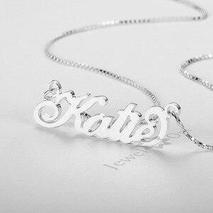Image 2 - JewelOra collar de placa con nombre personalizada para mujer, joyería fina, nombre de Plata de Ley 925, regalo de aniversario