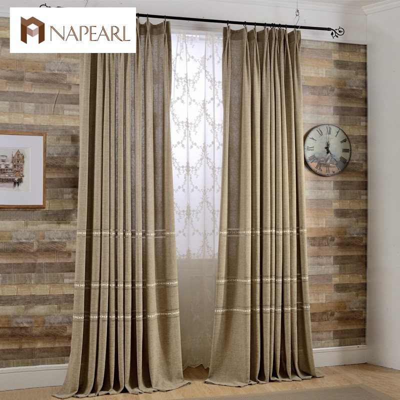 Modern Curtain Window Drapes Simple Design Plain Linen Curtains Shade Sheer Curtains  White Embroidered Panel Floral Tulle