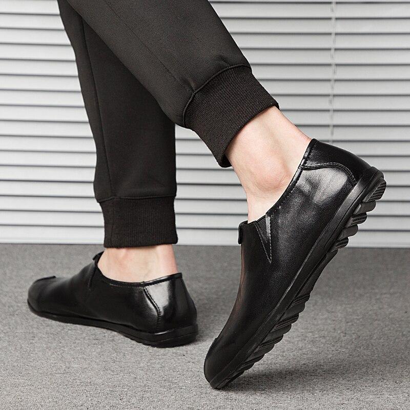 forme Taille Véritable Plate Mode Casual Conduite Quatre Homme Mocassins 12 Black De Travail Grande Hommes En Saisons Chaussures Respirant brown Cuir OITf76xq