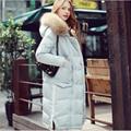 Buenos Ninos gola de pele de guaxinim pato branco para baixo mais grosso inverno quente preto branco longo coats & jackets