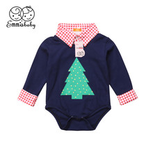 Newborn Baby Boys Girls Bodysuit Autumn 0-18M Infant Toddler Kids Christmas Long Sleeve Gentlemen Shirt Jumpsuit Outfit Clothes(China)