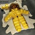 Invierno del bebé traje para la nieve recién nacido pato caliente abajo chaquetas 100% Real de piel de mapache con capucha del mono del bebé Monos Más colores