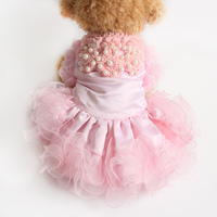 Armi Store White Knitted Pearl Flowers Dogs Dresses Dog Fashion Wedding Dress 73013 Pet Weddings Supplies