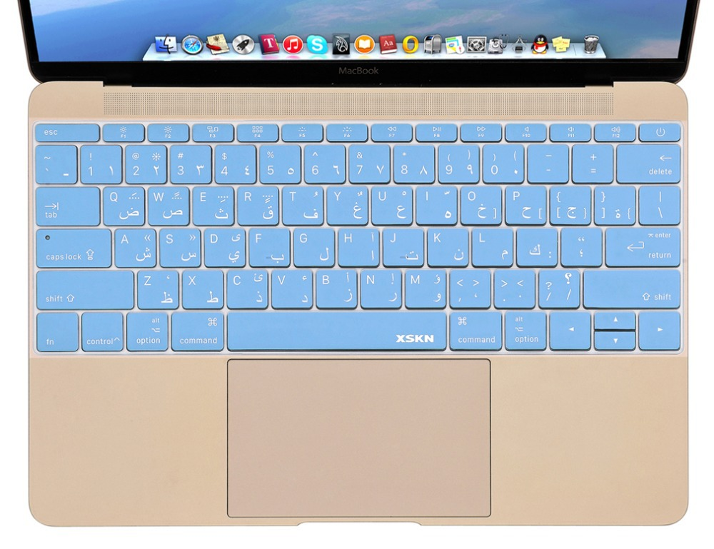 XSKN Arabic Language Blue Color Ultra-thin Silicone Keyboard Cover Skin for Macbook 12, US Layout