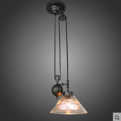 Glass Lampshade Retro Pulley Pendant Light Fixtures In Style Loft Industrial Lamp Eidson Indoor Lighting gimi jolly напольная