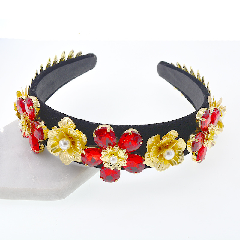 Luxury  Rhinestone Headdress Baroque Crystal Headband Fashion Pearl Hair Band Women Accessories
