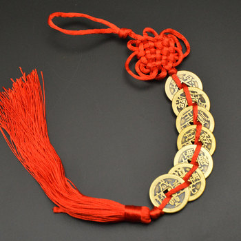 Chinese manual Knot Fengshui Lucky Charms Ancient I CHING Copper Coins Mascot Prosperity Protection Good Fortune Home Car Decor 10