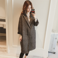 Mid Autumn 2018 Single Breasted Drop Shoulder X Long Coat Long Sleeve Women Loose Cocoon Plaid Coat