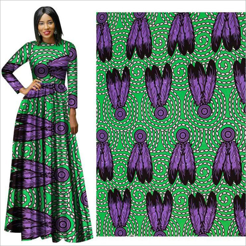 Me-dusa 2019 new green feather African Print Wax Fabric 100% cotton Hollandais Wax Dress Suit cloth 6yards/pcs High quility(China)
