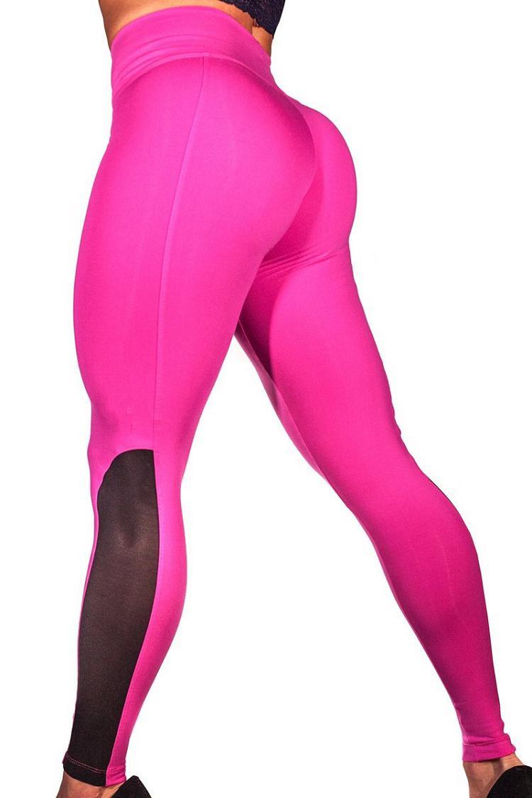 2018 Leggings Women Mesh Splice Tights Fitness Slim High Waist Black Scrunch Legging Sportswear Clothing Gym Leggings Tracksuit 4