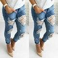 2016 Novas Mulheres Rendas Denim Magro Rasgado Calças Jeans Stretch de Cintura Alta Calças Lápis Slim L