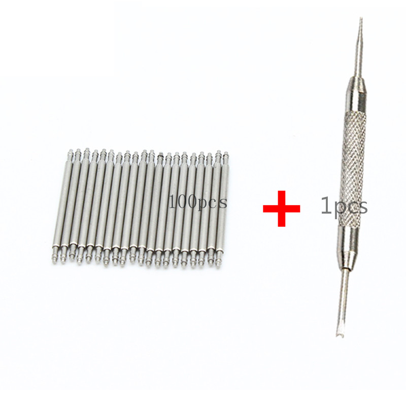100pcs+1 tool Stainless Steel Watch Band Strap Spring Bar Link Pins Remover New Silver 12mm 14mm 16mm 18mm 20mm 22mm 24 26 28mm