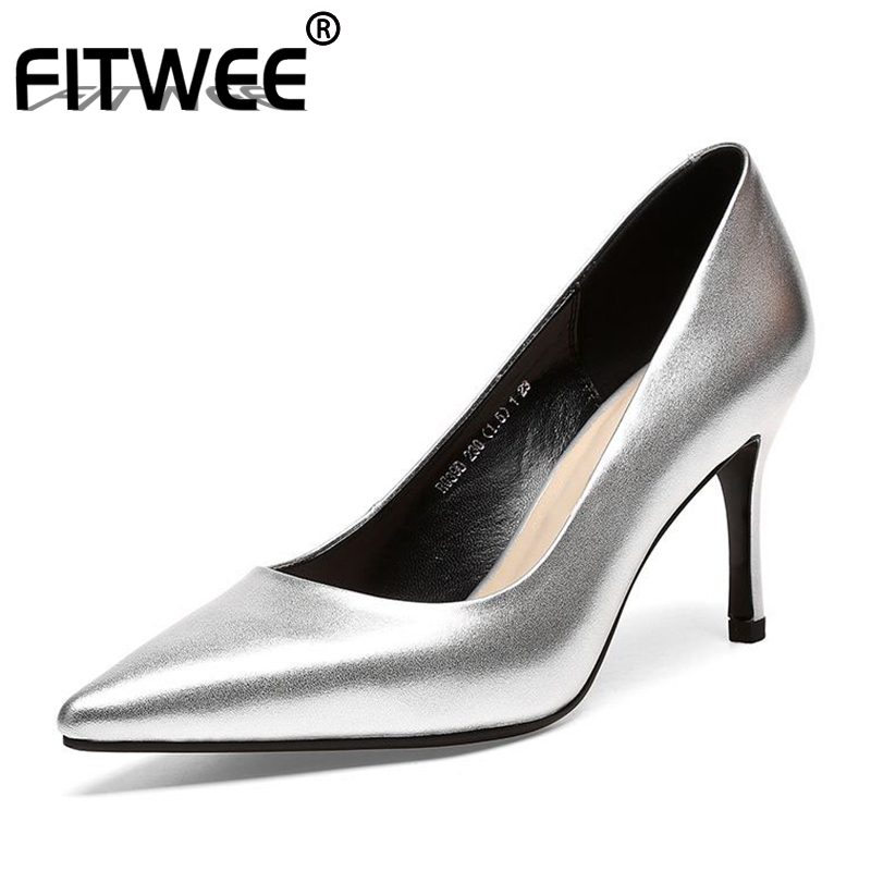 FITWEE Sexy Women Real Leather High Heel Shoes Women Pointed Toe Metal Color Thin Heels Pumps