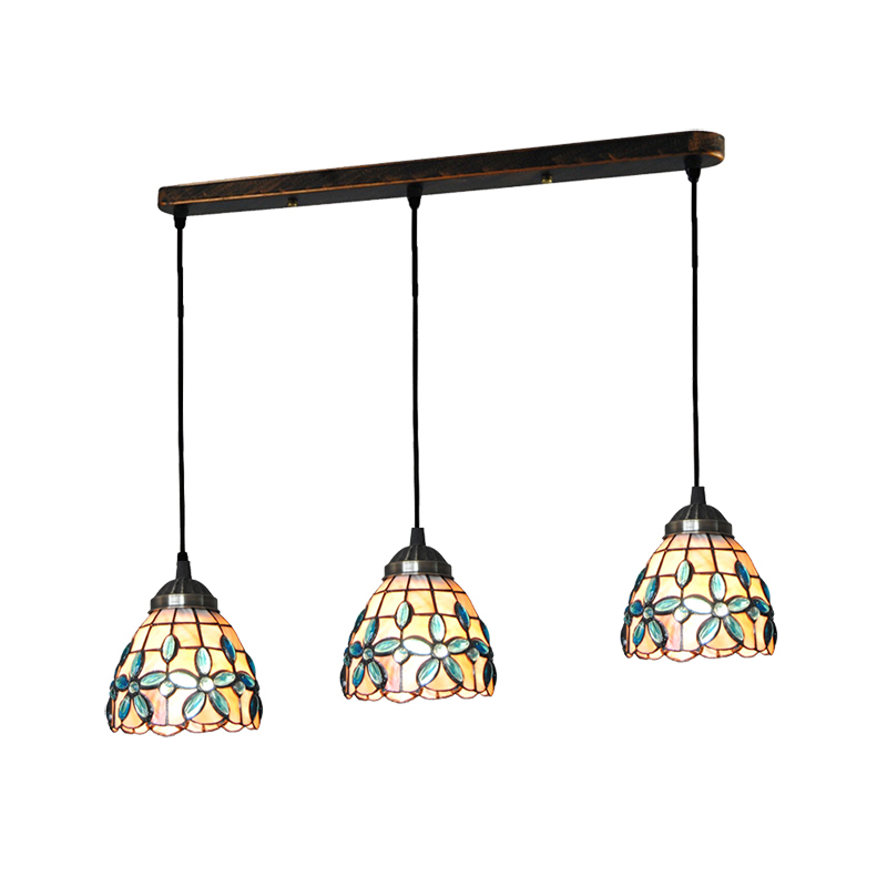 Us 149 99 5 Inch Tiffany Style Pendant Light 3 Lights Tiffanylampe Vintage Lilac Shell Hanging Lamp Bedroom Porch Stair Lighting New Pl773 In