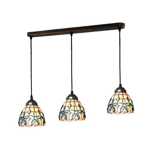 5 Inch Tiffany Style Pendant Light 3 Lights Tiffanylampe Vintage Lilac Shell Hanging Lamp Bedroom Porch