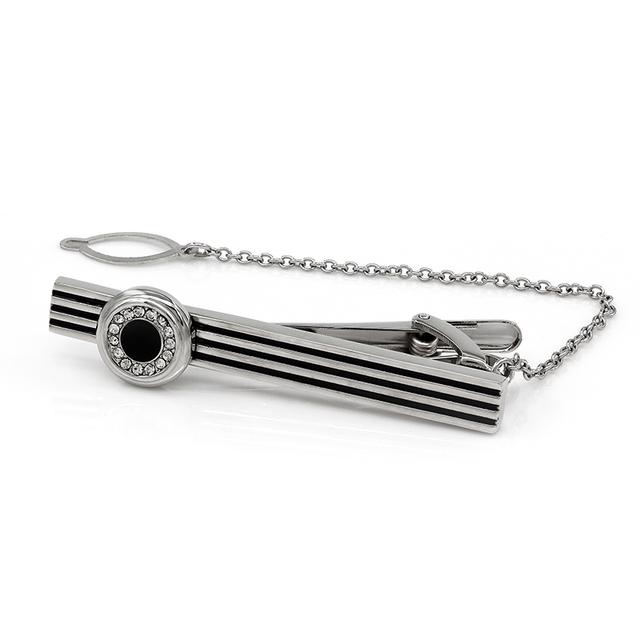 Kemstone banhado a prata liga stripe tie bar clipe para regular os laços com acrílico cristal 033 #