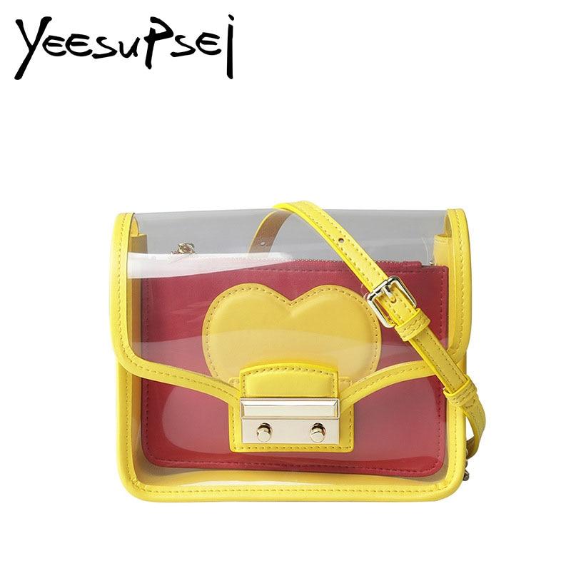 YeeSupSei Mini sac à rabat femmes Transparent sac à main en PVC deux pièces sac en forme de coeur sac à bandoulière sac à bandoulière couleur Sweety