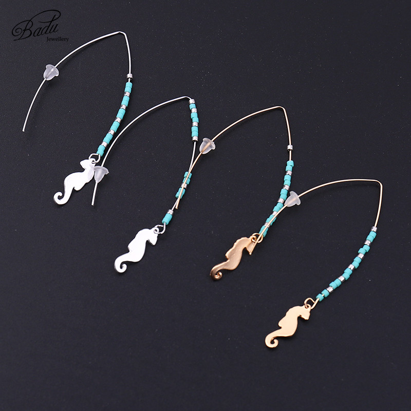 Badu Small Green Beads Earrings Golden Copper Friendship Gift Hippocampus Pendant Earring for Women Fashion Jewelry in Hoop Earrings from Jewelry Accessories