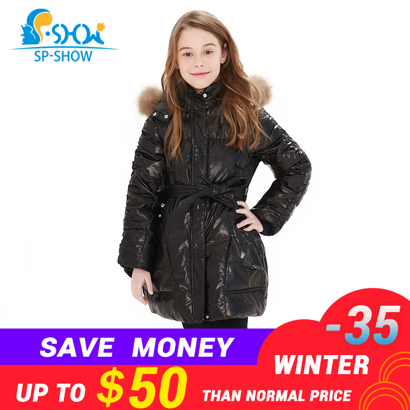 SP-SHOW Winter and fall Children's Outwear O-neck Down Jacket Raccoon Fur Hat Child Winter Coat Thicker Warm Jacket Girl Jacket new russia fur hat winter boy girl real rex rabbit fur hat children warm kids fur hat women ear bunny fur hat cap