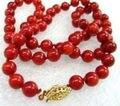 """Natural 8mm Mar Vermelho Coral Verdadeira Rodada Beads Colar 18"""""""