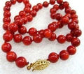 Natural 8mm Red Sea Real Coral Round Beads Necklace 18""