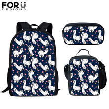 цена FORUDESIGNS 2019 Children School Bags Cartoon Llama Animal Print Set Kid Bags For Teen Girls Large Capacity Backpack Schoolbags онлайн в 2017 году