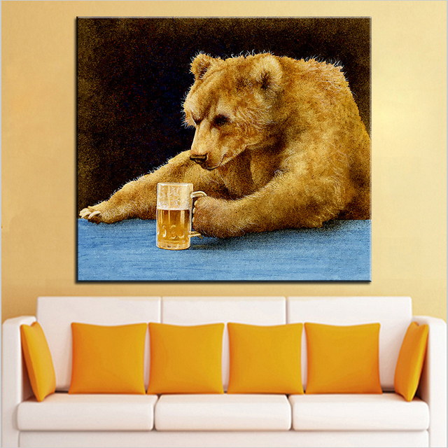 Large size Printing Oil Painting grizzly beer Wall painting Wall Art ...