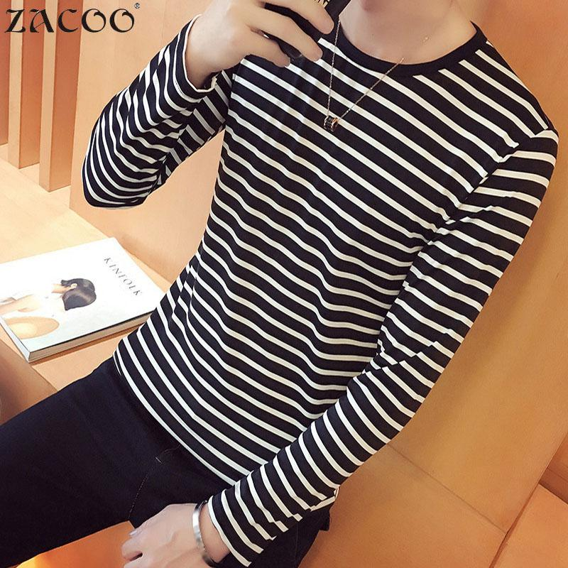ZACOO Men Striped T Shirts O-neck Fashion Tees Long Sleeve Shirt Casual Pullover Top San0