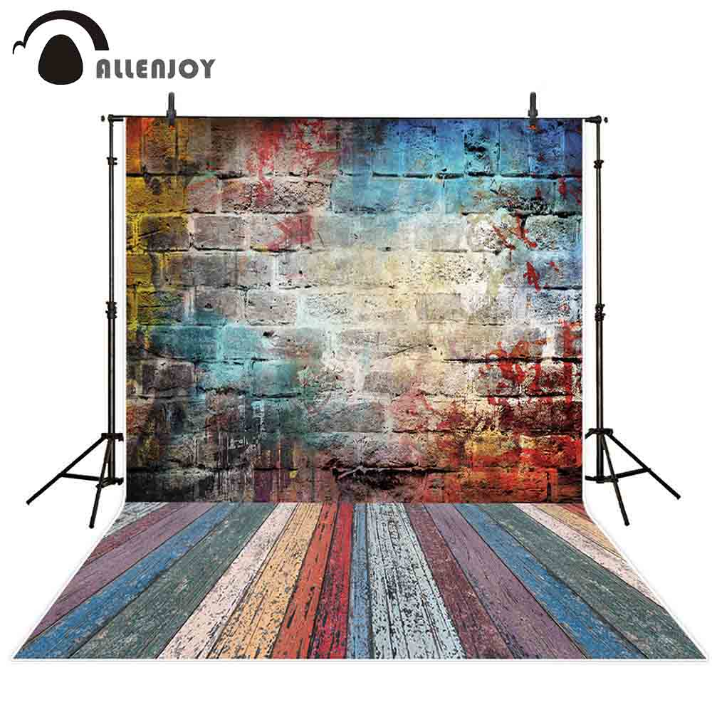 Splash Colorful Room Wall: Allenjoy Colorful Graffiti Brick Wall Wooden Color Floor
