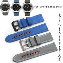 24 мм Высокое качество воловья кожа холст ремешок для часов черный синий Новая мода иглы пряжки ремешок подходит для Panerai серии часы