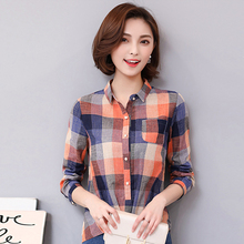 2017 new Plaid Shirt Women Cotton Linen Blouse 2017 Autumn Long Sleeve Checked Shirts Female Casual Tops Blusas Femininas  928E turndown collar checked linen shirt