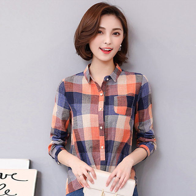 1867827e06d1b spring 2019 new Plaid Shirt Women Cotton Linen Blouse Autumn Long Sleeve  Checked Shirts Female Casual Tops Blusas Femininas 928E