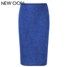 NEW OOPS Women Suede Multi Color Pencil Midi Skirt Sexy Elastic High Waist Office Lady Bodycon Skirt Femininas Saias A1609022