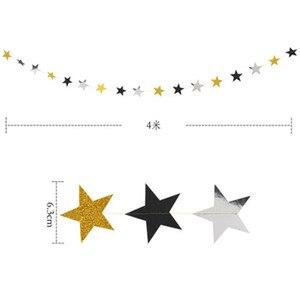 Image 3 - סיום עונה נצנצים זהב שחור כסף פנטגרם מטוטלת עגול נייר דגל מסיבת סיום קישוט ספקי