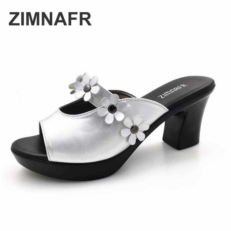 ZIMNAFR MARKA YENI KADıN TERLIK ÇIÇEK ZARIF SANDALET KADıN MODA yüksek topuklu sandalet KADıN ARTı BOYUTU AYAKKABı