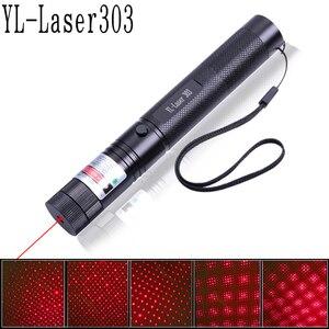 Image 2 - Grün/Rot Laser Pointer 532nm 5 mW 303 Laser Stift Einstellbare Starry Kopf Brennen Spiel lazer Mit 18650 Batterie + ladegerät