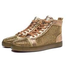 Marca de luxo Mens Formadores Sneakers Rebites Strass High Top Lace Up Calçados Casuais Beathable Malha Sapatos femininos tenis feminino