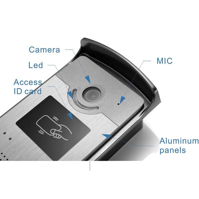 """7"""" Screen Video Door Phone Doorbell System night vision Camera Power Supply+ Door Exit+ ID Keyfobs video intercom for home villa"""