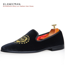 2017 New Design Men Party Wedding Handmade Loafer Shoes Men Velvet Noble Shoes with Dog Embroidery Men Driving Shoes BR-C1474
