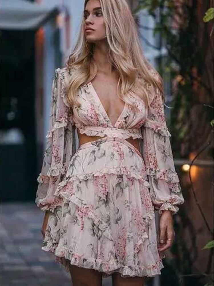 2019 Summer New Women s Dress Women High Waist Print Deep V neck Elegant Sexy Dress