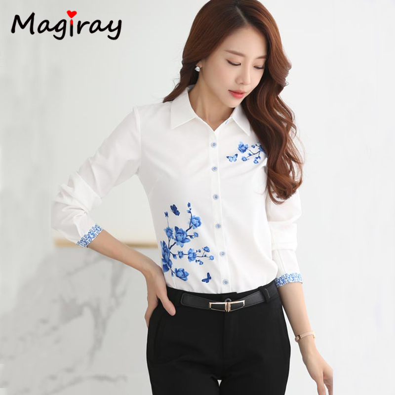Long Sleeve Blue butterfly Flower Print Blouse Women 2021 Summer fall Top Elegant Work Office Plus Size Shirt White Blouse C181 5