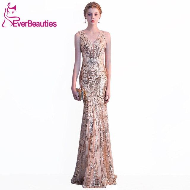 a997ea555c Syrenka Suknia Wieczorowa 2018 Sexy Głęboki Dekolt Cekiny Eleganckie Suknie  Wieczorowe Długie Sukienek Robe De Soiree