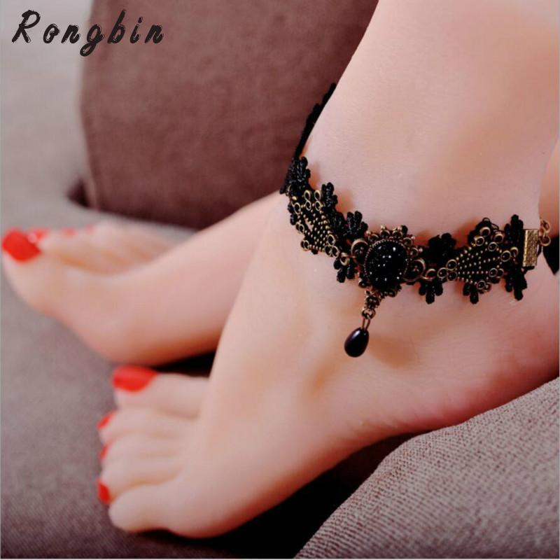 Anklets For Women Handmade Gothic Black Vintage Lace Women Anklets Diy Belt Gift Women Accessories Gothic Party Jewelry